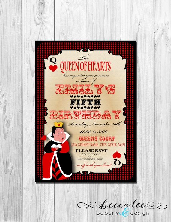 62 best party ideas images on pinterest queen of hearts alice in