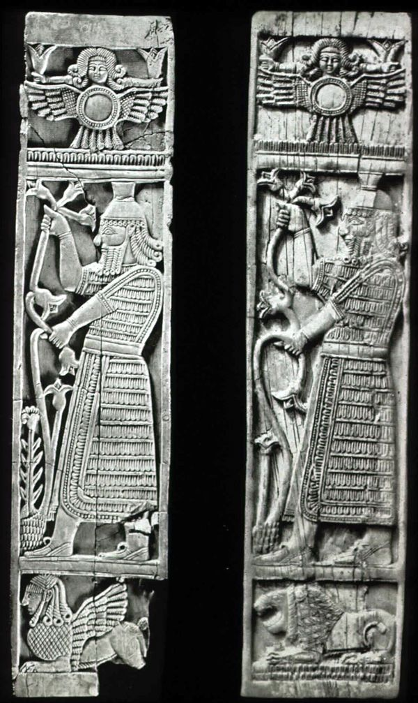 "plaques in Syrian style showing vegetation figures and, above, ""sirens,"" Nimrud"