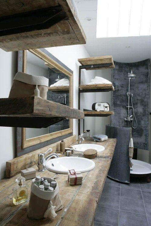 Salle de bain - Béton & Bois  #bathroom ideas