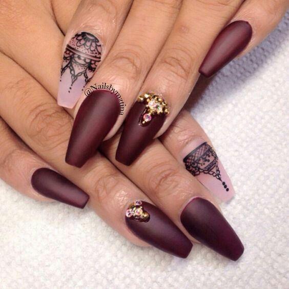 Nail designs red burgandy black lace henna gold gems