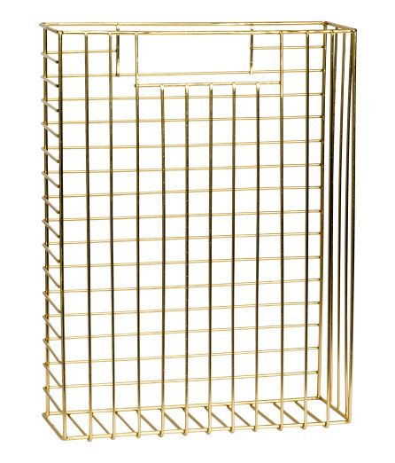 Rectangular magazine rack in metal with a handle in each side. Size 8.5x23.5x32 cm. - Visit hm.com to see more.