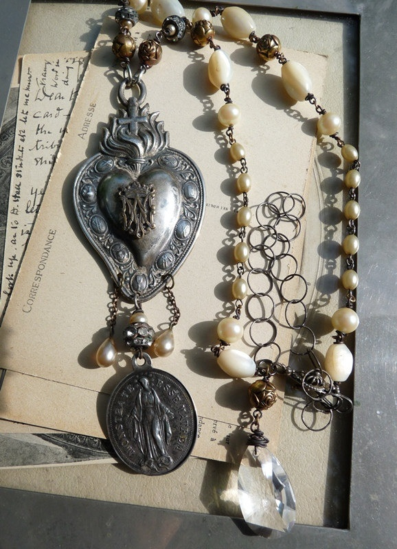 Sacred Heart Necklace Ex Voto Silver Nuns Medal Wearable Altar for the Passionate ♥