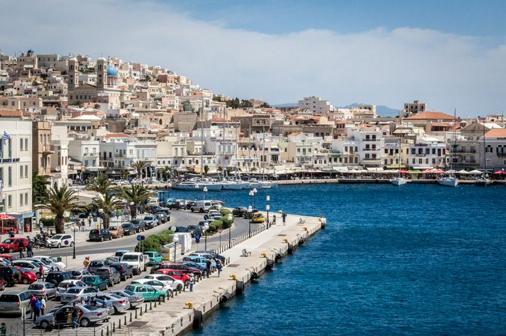 The port of Ermoupoli on the island of Syros, Greece