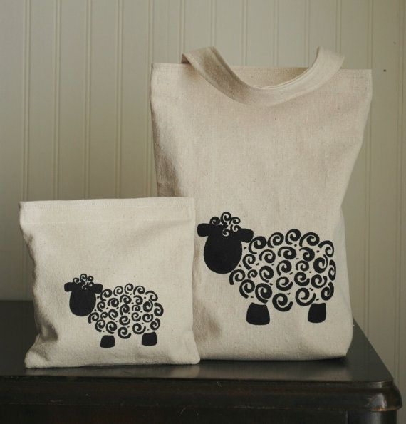 Sheep!  This would be easy to draw on tshirts for spring with fabric paint.