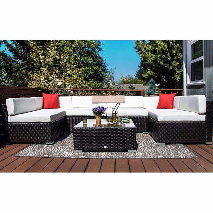 Sol 72 Outdoor Merton 7 Piece Rattan Sectional Seating Group With Cushions Reviews Wayfair Backyard Furniture Patio Furniture Sets Resin Patio Furniture