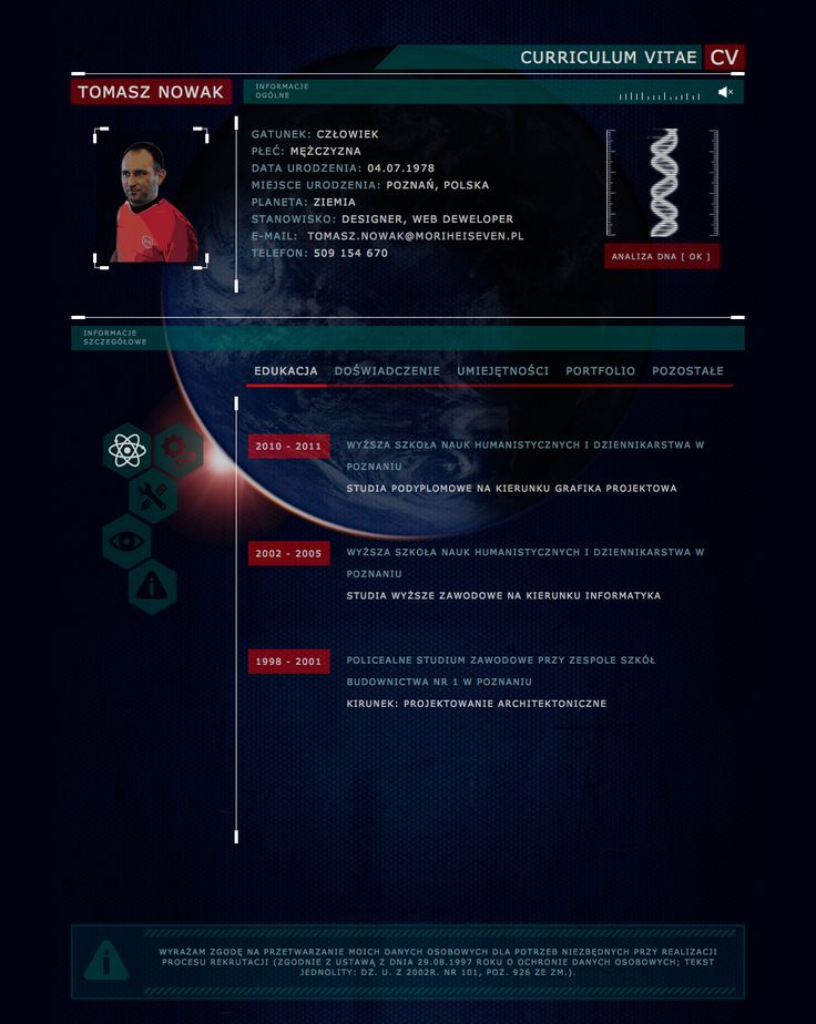 My Futuristic Curriculum Vitae With Animated Earth In Background You Can See On http://www.moriheiseven.pl/cv/