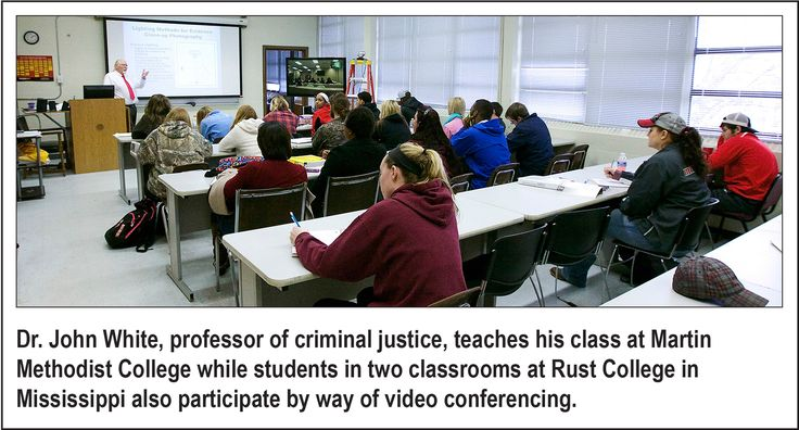 Students at Rust College taking Martin Methodist College class via video