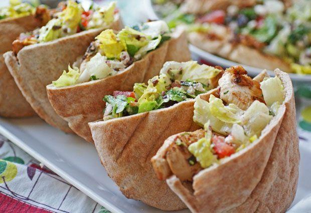 Rachael Ray's Greek Grilled Chicken & Vegetable Salad stuffed in Warm Pita Bread