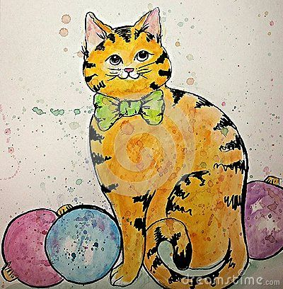 Watercolor cat and christmas bulbs