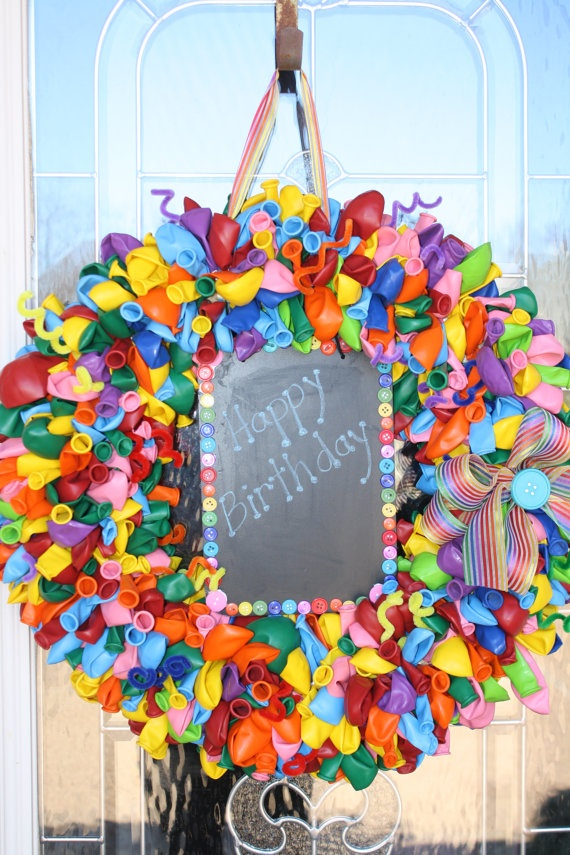 Balloon Wreath with Happy Birthday Sign & by StefsDoodleDots, $65.00
