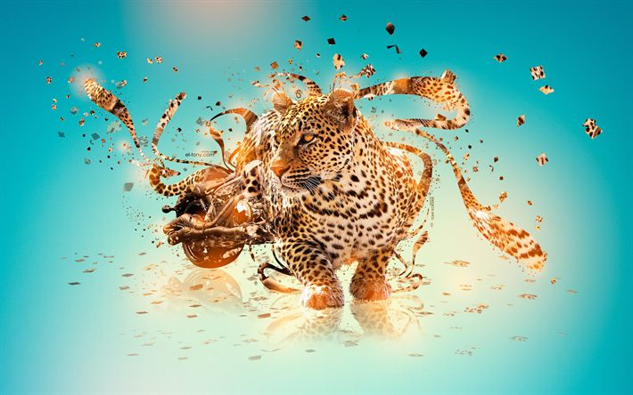 Download wallpapers leopard, 4k, 3D art, motorcycles, predators, creative