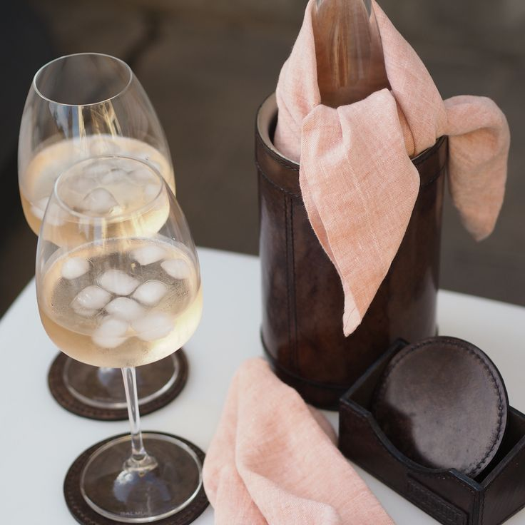 It's time for rosé wine! Balmuir leather deco products and linen available at Balmuir.com
