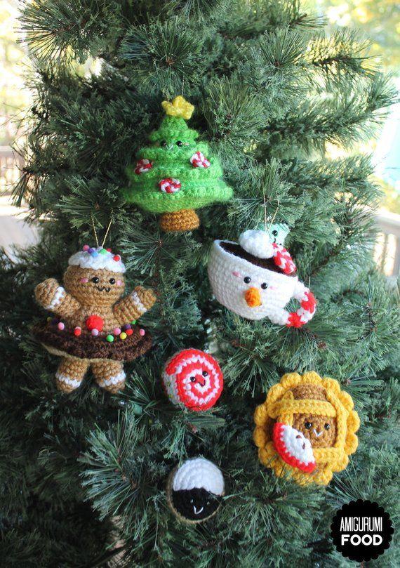 Christmas Ornaments Crochet Pattern Amigurumi Food Christmas Etsy In 2020 Crochet Christmas Ornaments Free Crochet Christmas Decorations Crochet Christmas Gifts