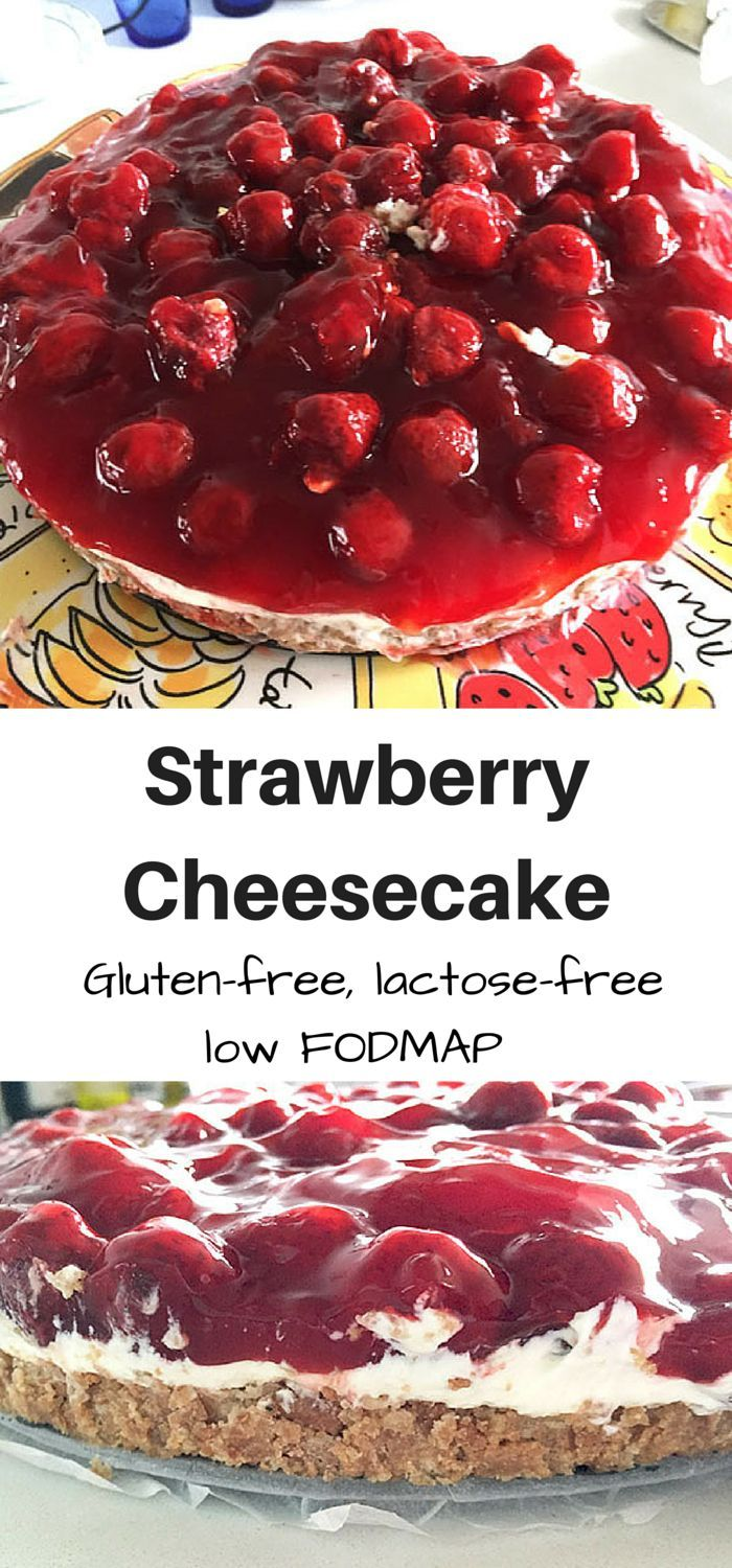 A delicious strawberry cheesecake (monchou taart) which is suitable for everyone: gluten-free, lactose-free and low FODMAP!