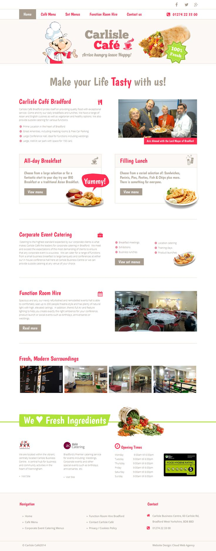 Website design for Carlisle Cafe, fun modern website with a mobile version of the site as well. http://www.carlislecafe.co.uk/