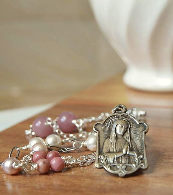 Religious Catholic Medal Necklace, Catholic Jewelry, Virgin Mary Religious Necklace, Our Lady Lourdes, Christian Catholic gifts, godmother