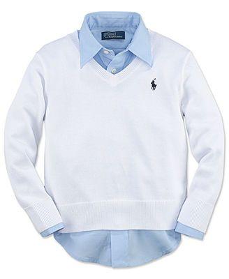 Ralph Lauren Kids Sweater, Little Boys V-Neck Sweater