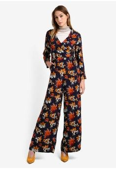 Wanita > Pakaian > Playsuits & Jumpsuits > Jumpsuits > Printed Wrap Jumpsuit > Mango