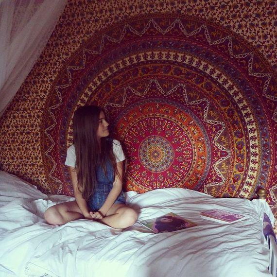 Wall Hanging Tapestry Bohemian Gypsy Mandala by LunaLovesVintage