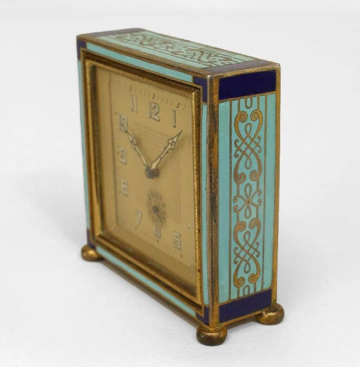French art deco blue enamel desk clock