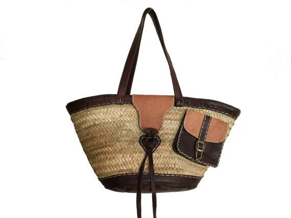 French market bag, French market tote ,Basket,Straw bag , woven straw bag, Basket with pocket, Pannier bag , Handwoven, Handmade straw bag ,