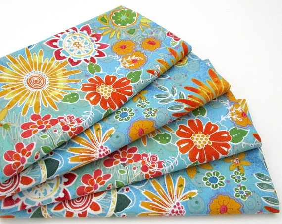 Cloth Napkins  Set of 4  Bright Blue Red Pink Orange Yellow