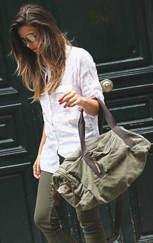 Cute Tomboy Outfits: Taking the military style to the next level. Military green is still going strong. Via Natalia Cabezas Shirt/Trousers: Zara, Bag: Steve Madden