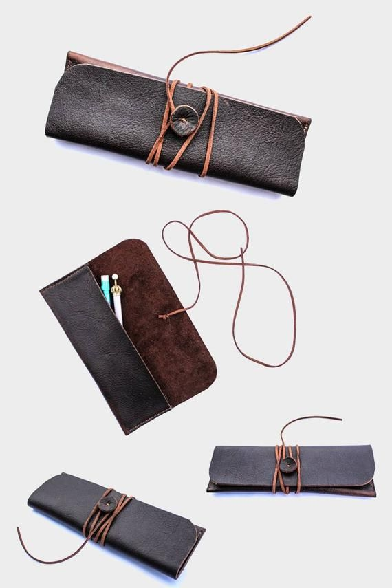 Leather pen case, leather pen holder, leather pencil holder sleeve