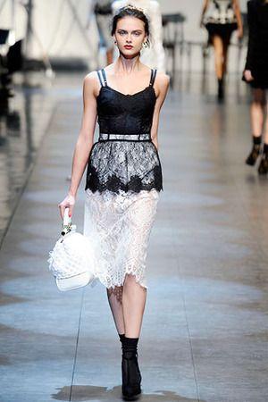 Dolce & Gabbana Spring 2010 RTW Black and White Lace Dress Profile Photo