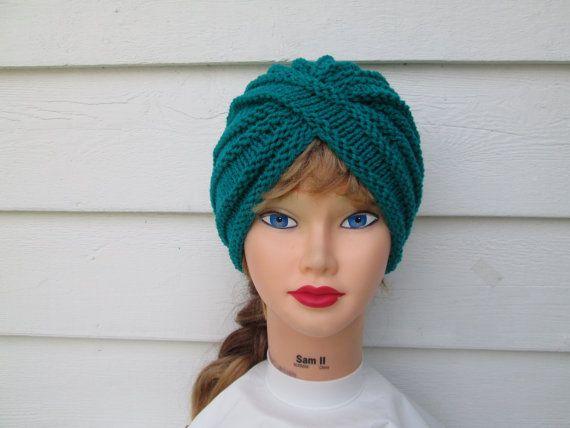 Photos show blue, the actual COLOR: Beautiful Turquoise  Retro Hand knitted chunky turban hat Women  Сlassiс , Stylish, cozy, elegant turban in