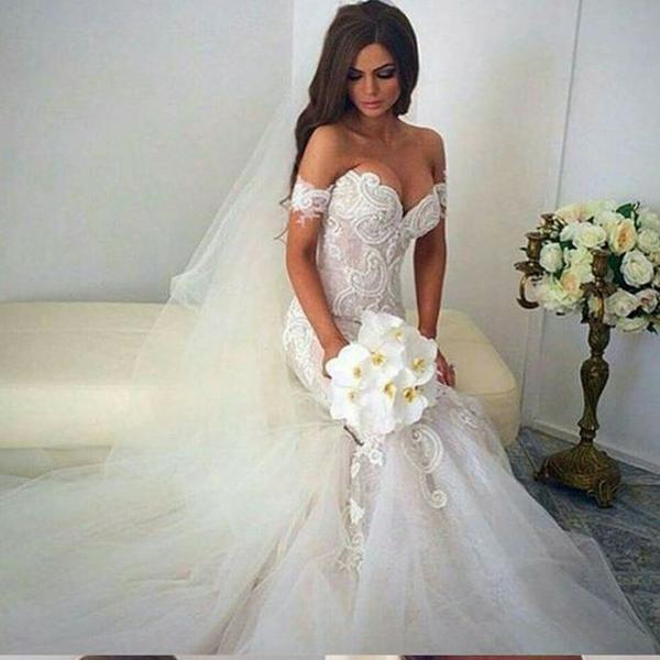 New Vintage Mermaid Off The Shoulder Formal Lace Charming Wedding Dresses. AB0220