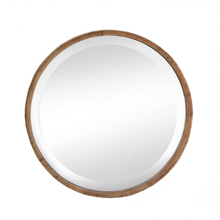 Wood Frame Round Wall Mirror