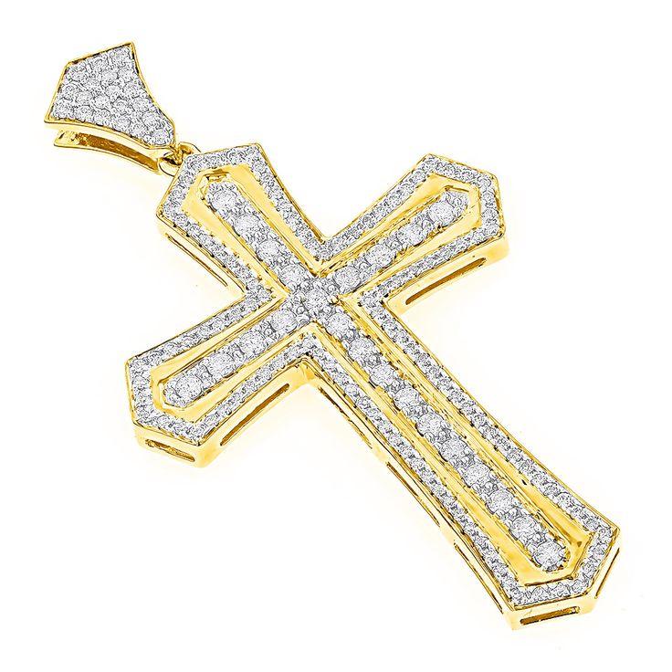14K Gold Designer Diamond Cross Pendant for Men by Luxurman 2.7ct