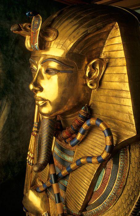 Innermost funerary coffin of King Tut Ankh Amon, Museum of Egyptian Antiquities ~ Tahrir Square, al-Qāhira (Cairo), Egypt....