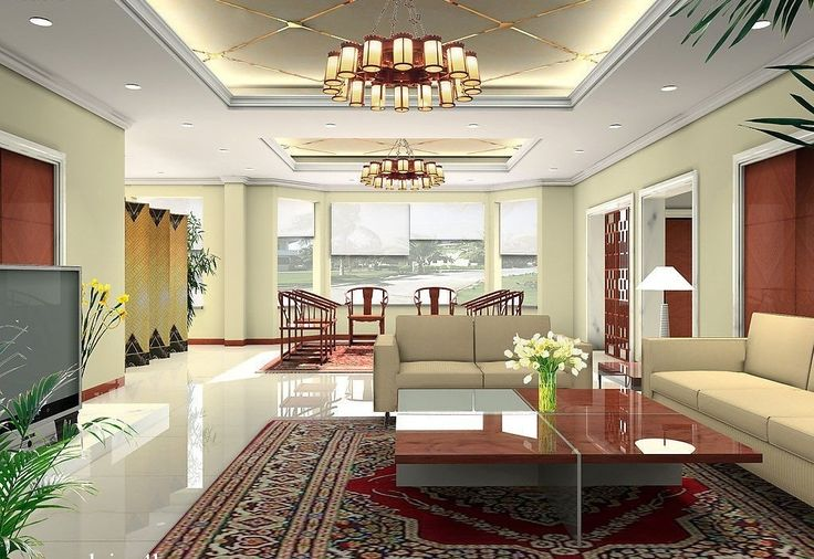 High ceiling living room of modern pop ceilings for Modern living room high ceiling