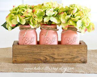 Jardinera rústica caja con 2 frascos de albañil por KatesLittleShop