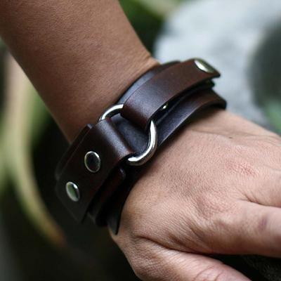 Men's Leather Wristband Bracelet - Bold Brown | NOVICA