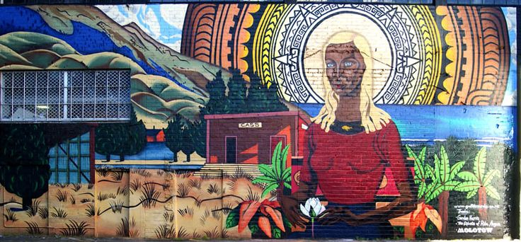 Rita Angus mural. Gordon Harris carpark Newmarket. Auckland
