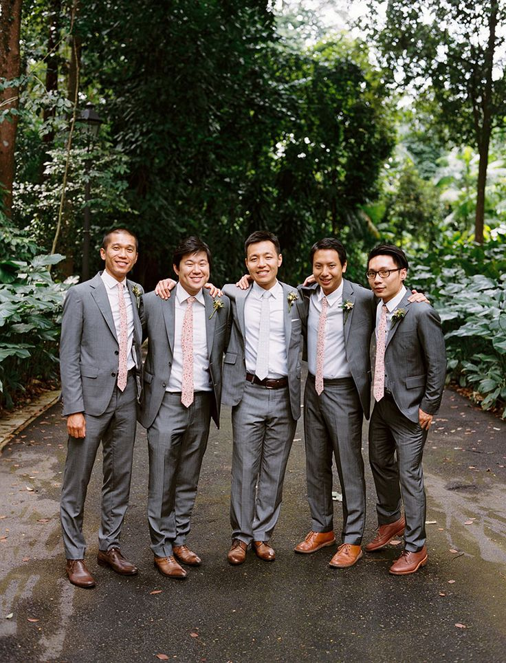 Groosmen in grey suits and tan coloured shoes | Burkill Hall Wedding with a Touch of Rustic Elegance: Ju Quan and Lauryn