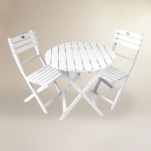 One of my favorite discoveries at WorldMarket.com: White Wood 3 Piece Outdoor Bistro Set