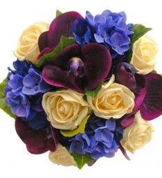 Blue Silk Hydrangea, Purple Orchid & Cream rose Bridesmaids Bouquet