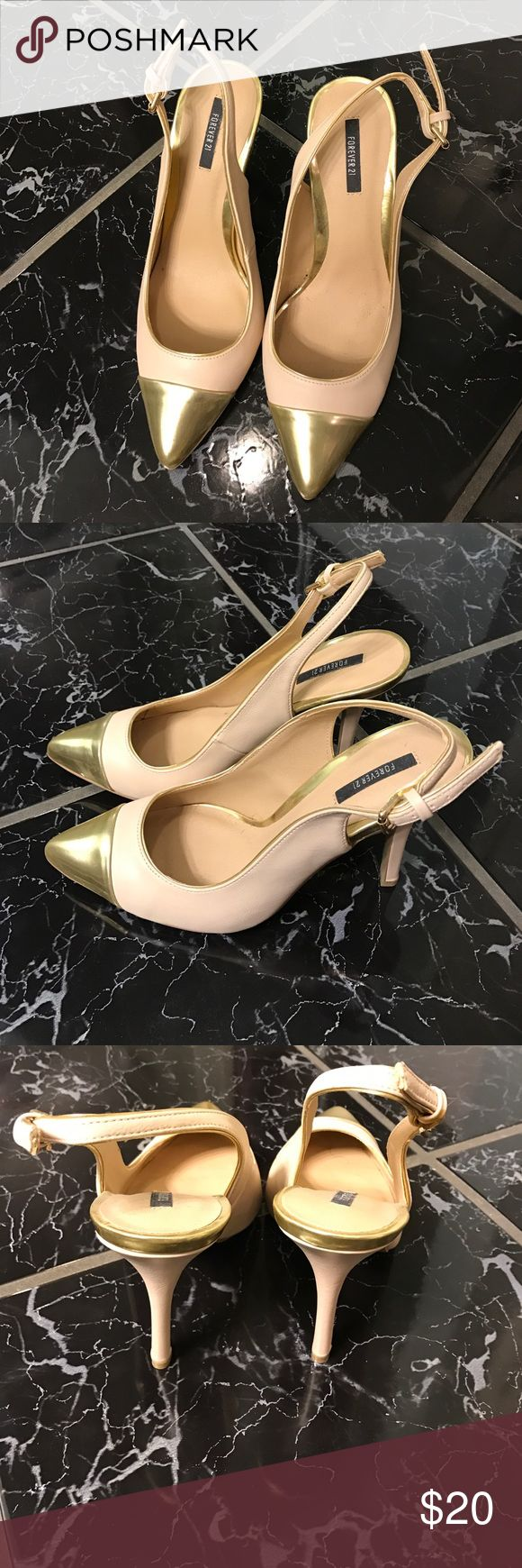 Gold Cap Toe Slingbacks Gold Cap Toe Slingbacks Forever 21 Shoes Heels