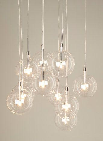 Clear Dee 10 light cluster. Pendant light