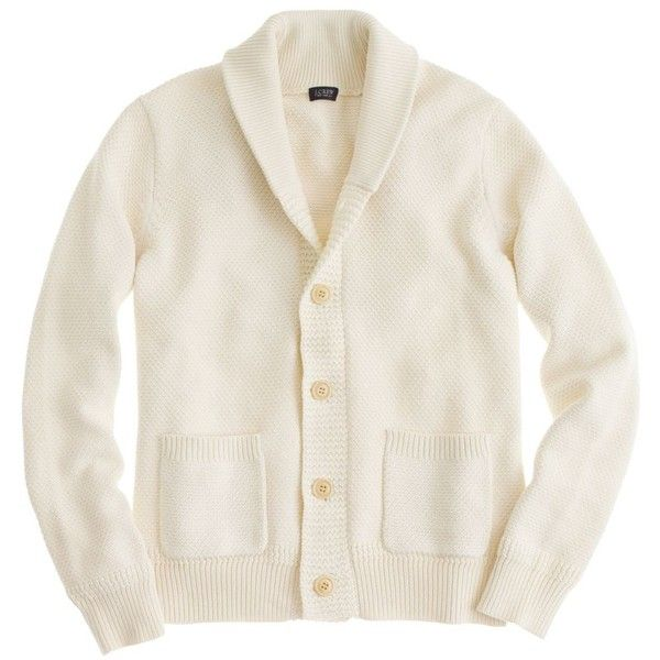 Cotton shawl-collar cardigan ($60) ❤ liked on Polyvore featuring men's fashion, men's clothing, men's sweaters, men, cardigans, j crew mens sweaters, mens shawl collar cardigan sweater and mens shawl collar sweater