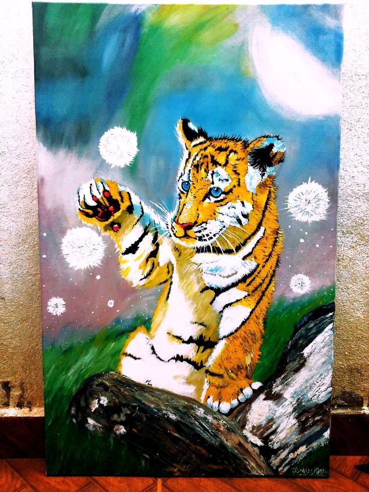 tigre pintura acrilica sobre tela