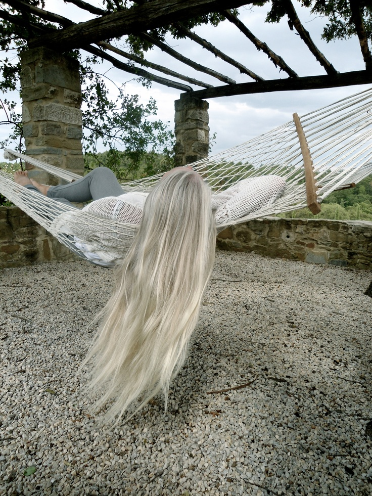 Mine is this long, but the grey remain near the front only... -Ginn.  long silver hair - relaxing in hammock - aging gracefully