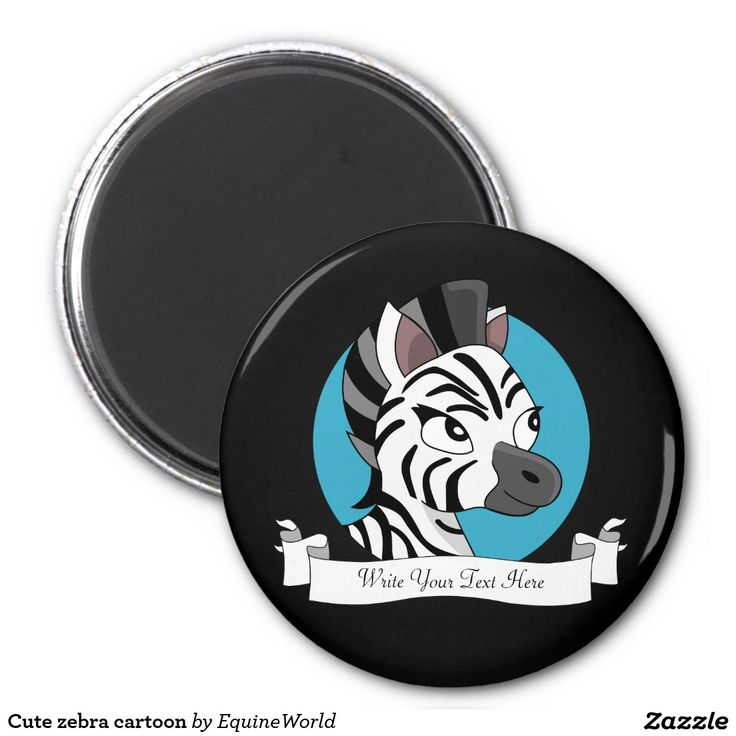 Cute zebra cartoon 2 inch round magnet