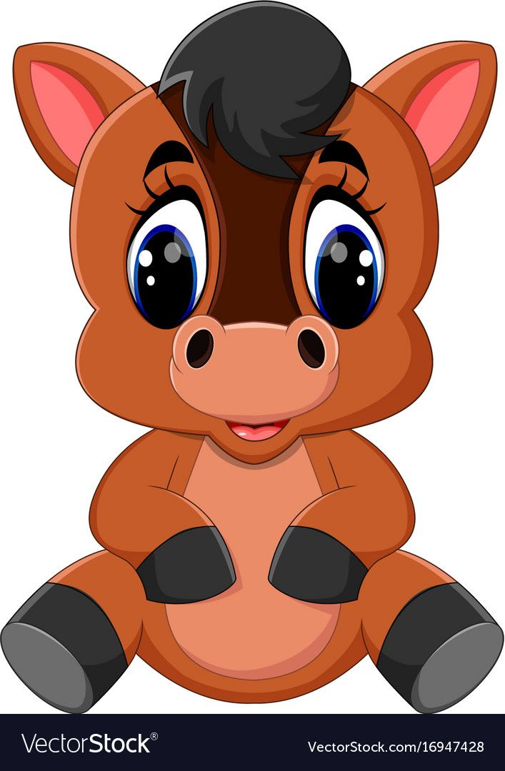 Cute Cartoon Brown Horse Vector Image On Animales De Granja