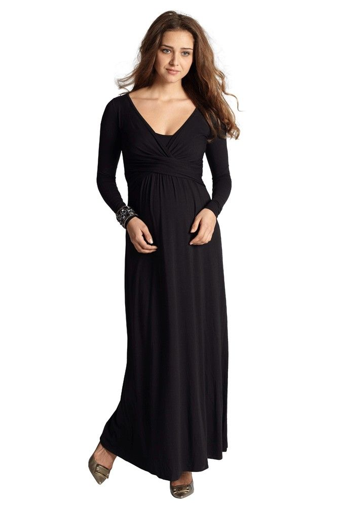 1254173d1a9 Ava Long Sleeve Wrap Maternity   Nursing Maxi Dress (Black)-stunning and  classy. This maxi maternity   breastfeeding dress is easy to wear with bump  and ...