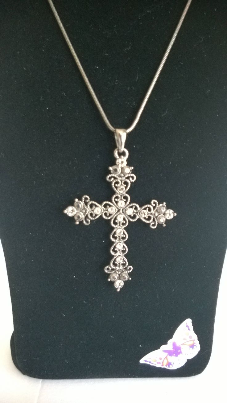 Large Bronze / Gold Coloured Crystal Cross Pendant on Chain. by ThePemburyEmporium on Etsy